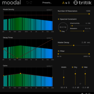 Moodal. resonator plugin. Graphical User Interface - dark theme