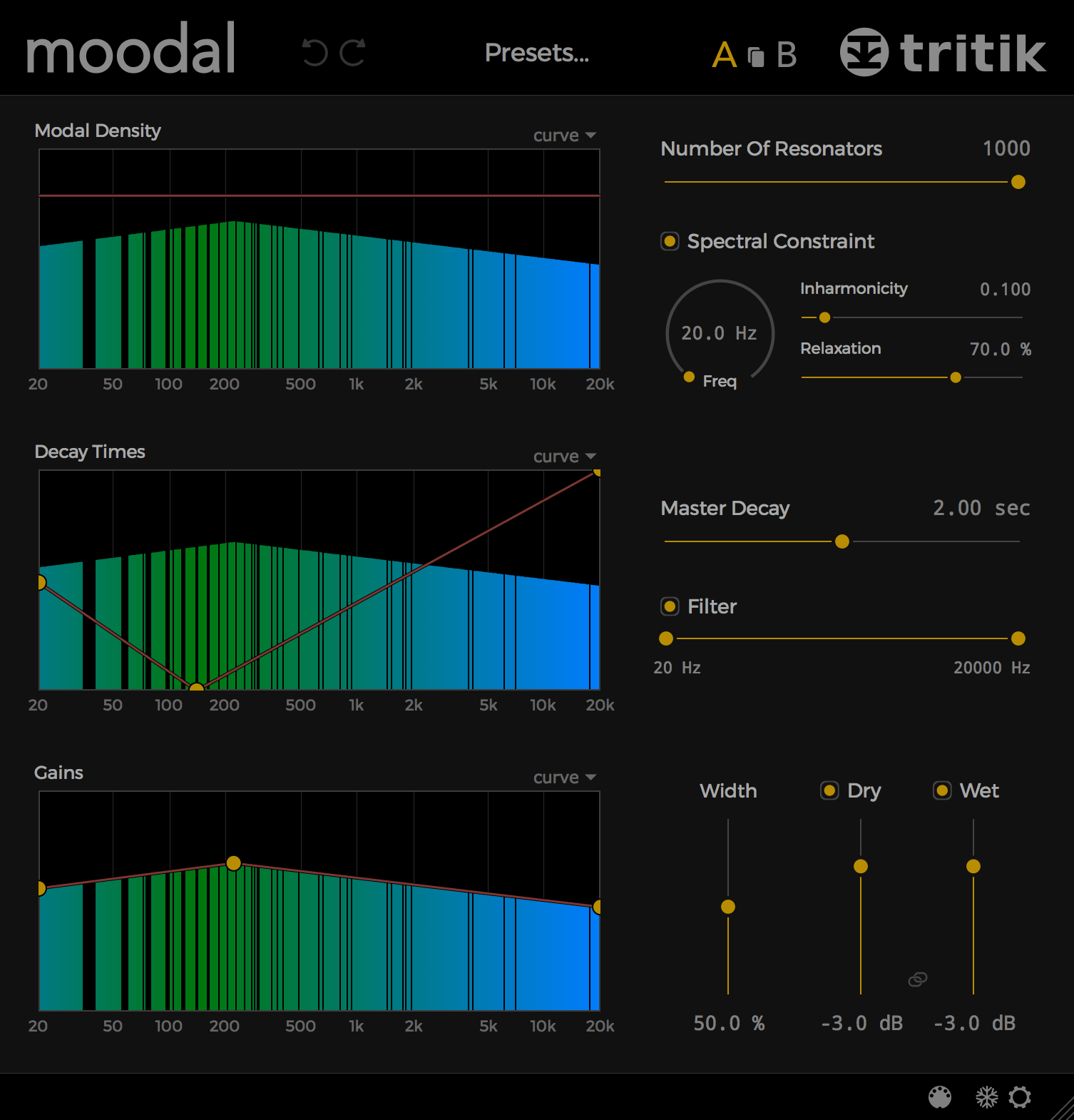 Moodal. resonator plugin. Graphical User Interface - dark theme