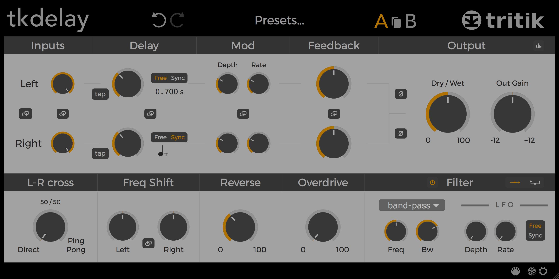 tkDelay - delay audio plugin.